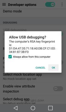aristo adb usb debugging PC authorization