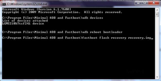 lg aristo fastboot flash recovery command