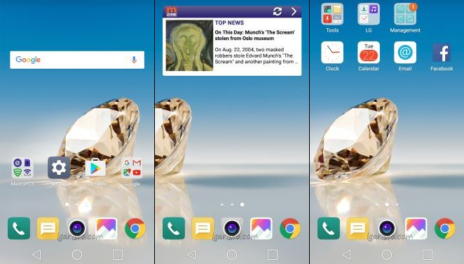 LG Aristo default home screen