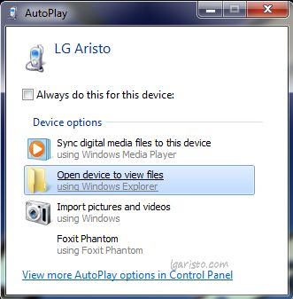lg aristo pc file transfer