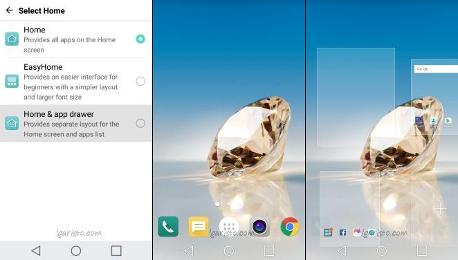 LG aristo home screen with app drawer