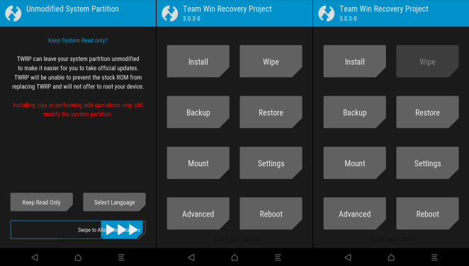 aristo twrp unmodified system partition
