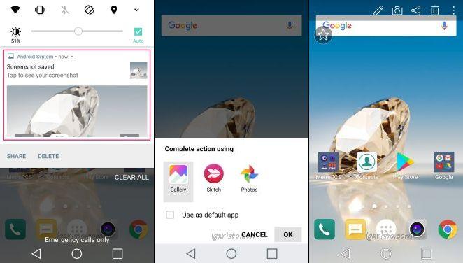 LG Aristo screenshot button