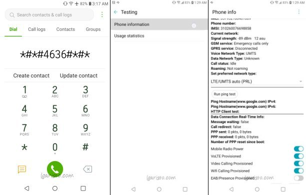 LG Aristo 4 Plus Testing Secret Dialer Code