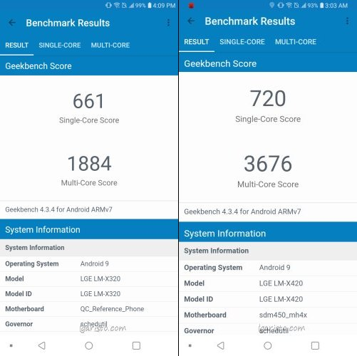 LG Aristo 4 Plus vs LG K40 - Geekbench Test