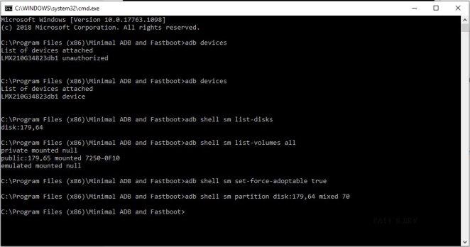 how to enable adoptable storage on lg aristo 3