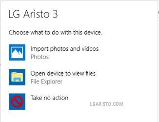 LG Aristo 3 How to transfer files